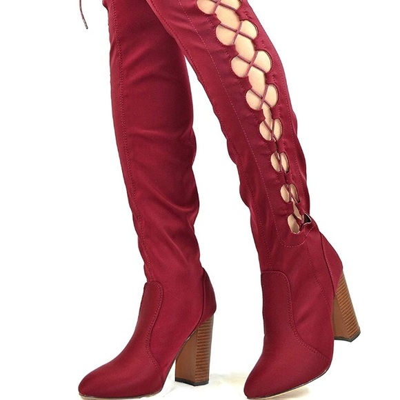 fc227564 New Chase & Chloe Red Thigh High Lace-Up Boots NWT